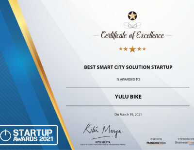 Yulu Wins The Best Smart City Solution Startup at StartUp Awards 2021